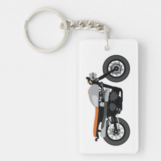 Cool Cafe Racer / Tracker Motorcycle Vintage bike Double-Sided Rectangular Acrylic Keychain
