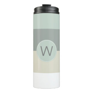 Cool Calming Stripes Pattern with Monogram Thermal Tumbler