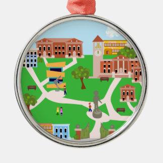 Cool Campus Design Silver-Colored Round Ornament