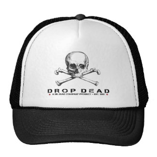 Cool Cap with Drop Dead Text and Skull Print Trucker Hat
