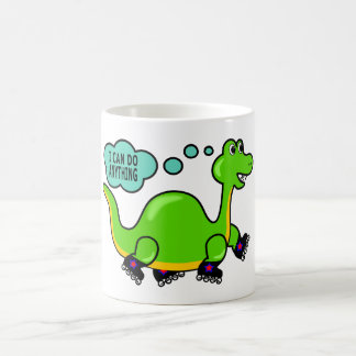 Cool Cartoon Dinosaur Skating to Success Coffee Mug