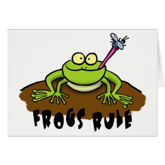 Cool cartoon frog greeting card