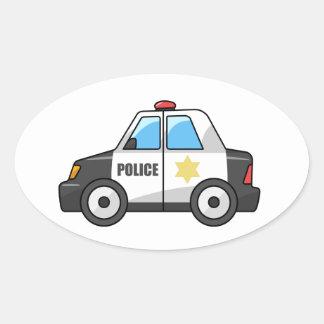 Cool Cartoon Police Car Oval Sticker