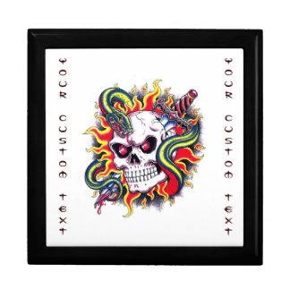 Cool cartoon tattoo burning skull snake dagger gift boxes