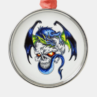 Cool cartoon tattoo symbol Blue Dragon Skull Silver-Colored Round Ornament