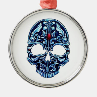 Cool cartoon tattoo symbol blue metal gothic skull Silver-Colored round ornament