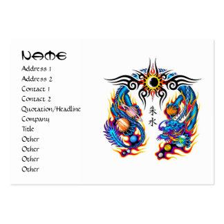 Cool cartoon tattoo symbol chinese dragon orbs large business card