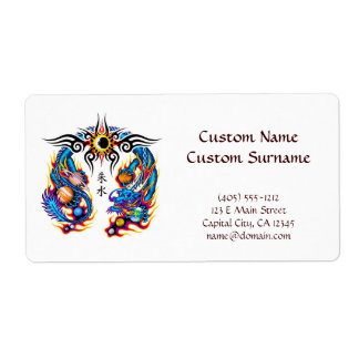 Cool cartoon tattoo symbol chinese dragon orbs shipping label