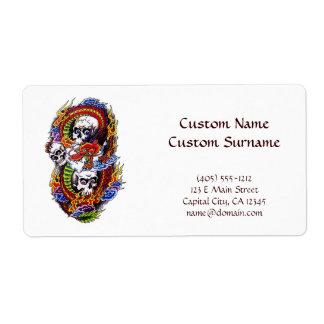 Cool cartoon tattoo symbol chinese dragon skulls shipping label