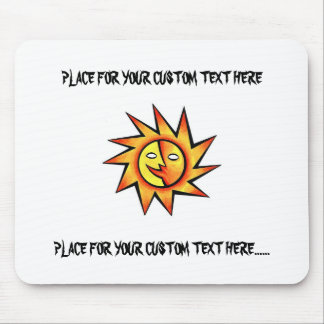 Cool cartoon tattoo symbol comic  Sun Face Mouse Pad