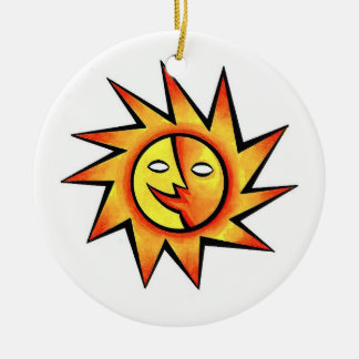 Cool cartoon tattoo symbol comic  Sun Face Round Ceramic Ornament