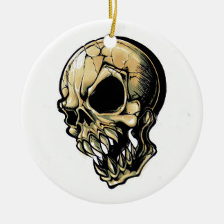 Cool cartoon tattoo symbol evil ink skull round ceramic ornament