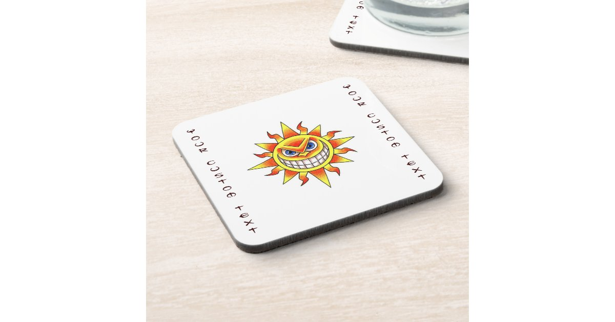 cool cartoon tattoo symbol evil smiling sun face beverage coaster zazzle. Black Bedroom Furniture Sets. Home Design Ideas