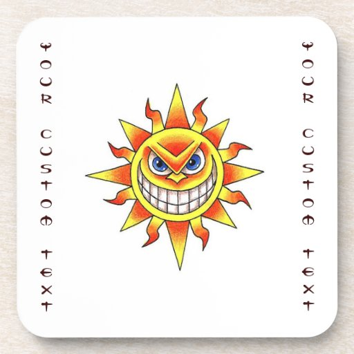 cool cartoon tattoo symbol evil smiling sun face beverage coasters zazzle. Black Bedroom Furniture Sets. Home Design Ideas