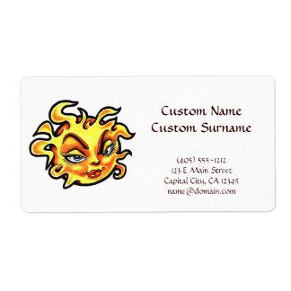 Cool cartoon tattoo symbol Female Lady Sun Shipping Label