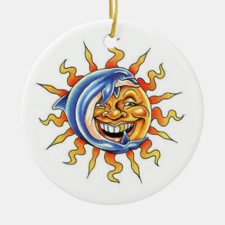 Cool cartoon tattoo symbol happy Sun face Dolphin Round Ceramic Ornament