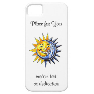 Cool cartoon tattoo symbol happy sun moon face iPhone 5 cover