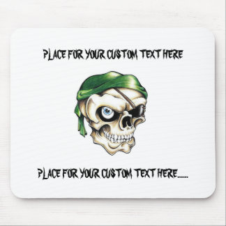 Cool cartoon tattoo symbol pirate skull bandana mouse pad