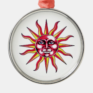 Cool cartoon tattoo symbol Sun God Face Silver-Colored Round Ornament