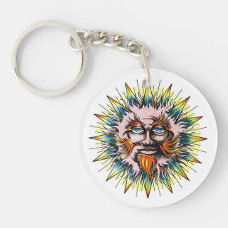 Cool cartoon tattoo symbol Sun Sage Face Double-Sided Round Acrylic Keychain