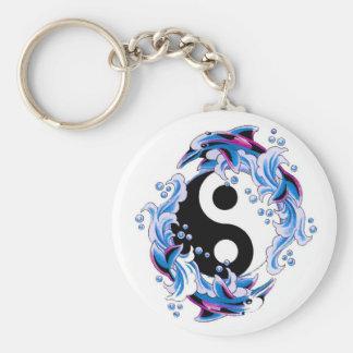 Cool cartoon tattoo symbol Yin Yang Dolphins Keychain