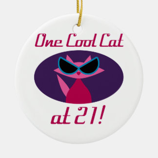 Cool Cat 21st Birthday Ceramic Ornament