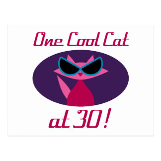 Cool Cat 30th Birthday Postcard