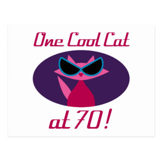 Cool Cat 70th Birthday Postcard