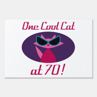 Cool Cat 70th Birthday Sign