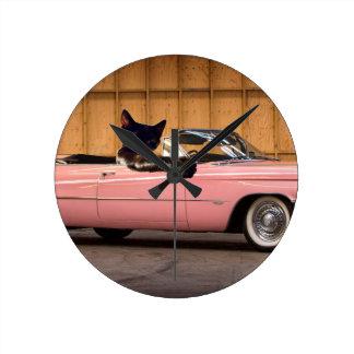Cool Cat Caddy Round Clock