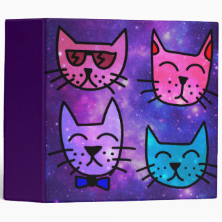 Cool Cat Faces on a Space Background 3 Ring Binders