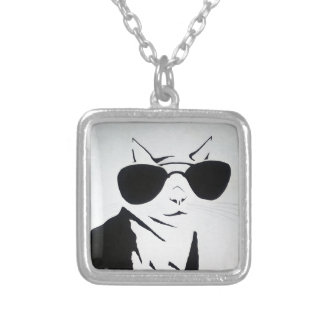 Cool Cat in Black and White Silver Plated Necklace