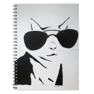 Cool Cat in Black and White Spiral Notebook