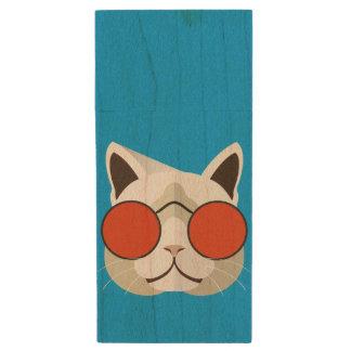 Cool Cat in Sunglasses Wood USB 3.0 Flash Drive