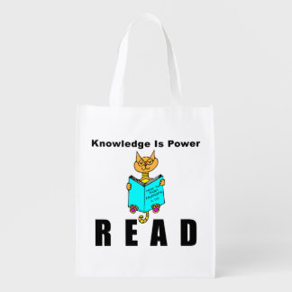 Cool Cat Reading Knowledge Is Power Grocery Bag