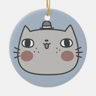 Cool Cat Round Ceramic Ornament