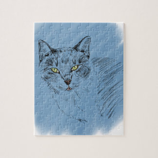 Cool Cat Scribble on Blue Background Puzzle