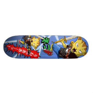 Cool Cat Warrior with Gun and Sword and Thunder Custom Skateboard