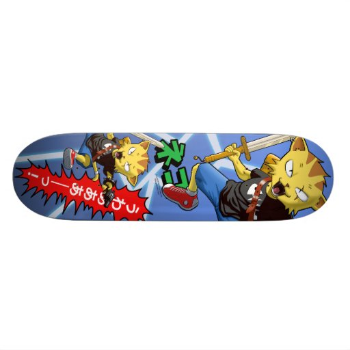 Cool Cat Warrior with Gun and Sword and Thunder Skateboards