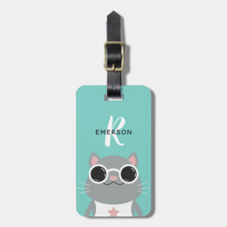 Cool Cat with Sunglasses | Monogram Luggage Tag