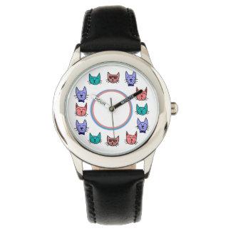 Cool Cats - Brown, Blue, Pumpkin, Teal Wrist Watch