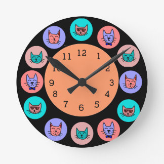 Cool Cats Frame - Black # Plate Wallclock