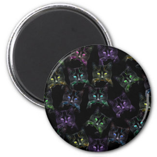 Cool Cats on Black! Multi-colored Cats 2 Inch Round Magnet