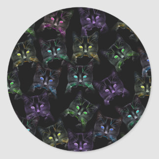 Cool Cats on Black! Multi-colored Cats Classic Round Sticker