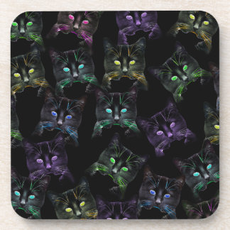 Cool Cats on Black! Multi-colored Cats Drink Coasters
