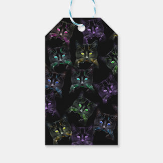 Cool Cats on Black! Multi-colored Cats Gift Tags