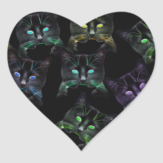 Cool Cats on Black! Multi-colored Cats Heart Sticker