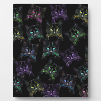 Cool Cats on Black! Multi-colored Cats Plaque