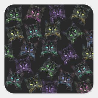 Cool Cats on Black! Multi-colored Cats Square Sticker