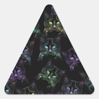 Cool Cats on Black! Multi-colored Cats Triangle Sticker
